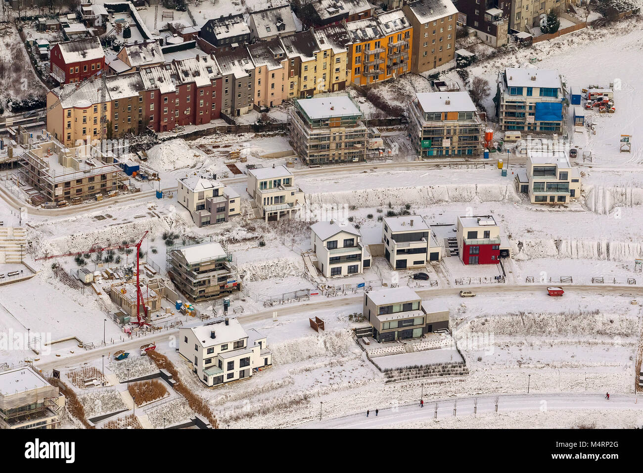 Aerial view, lakefront, detached houses, Emscher, residential development on the lake, Phoenixsee, former steelworks - Stock Image