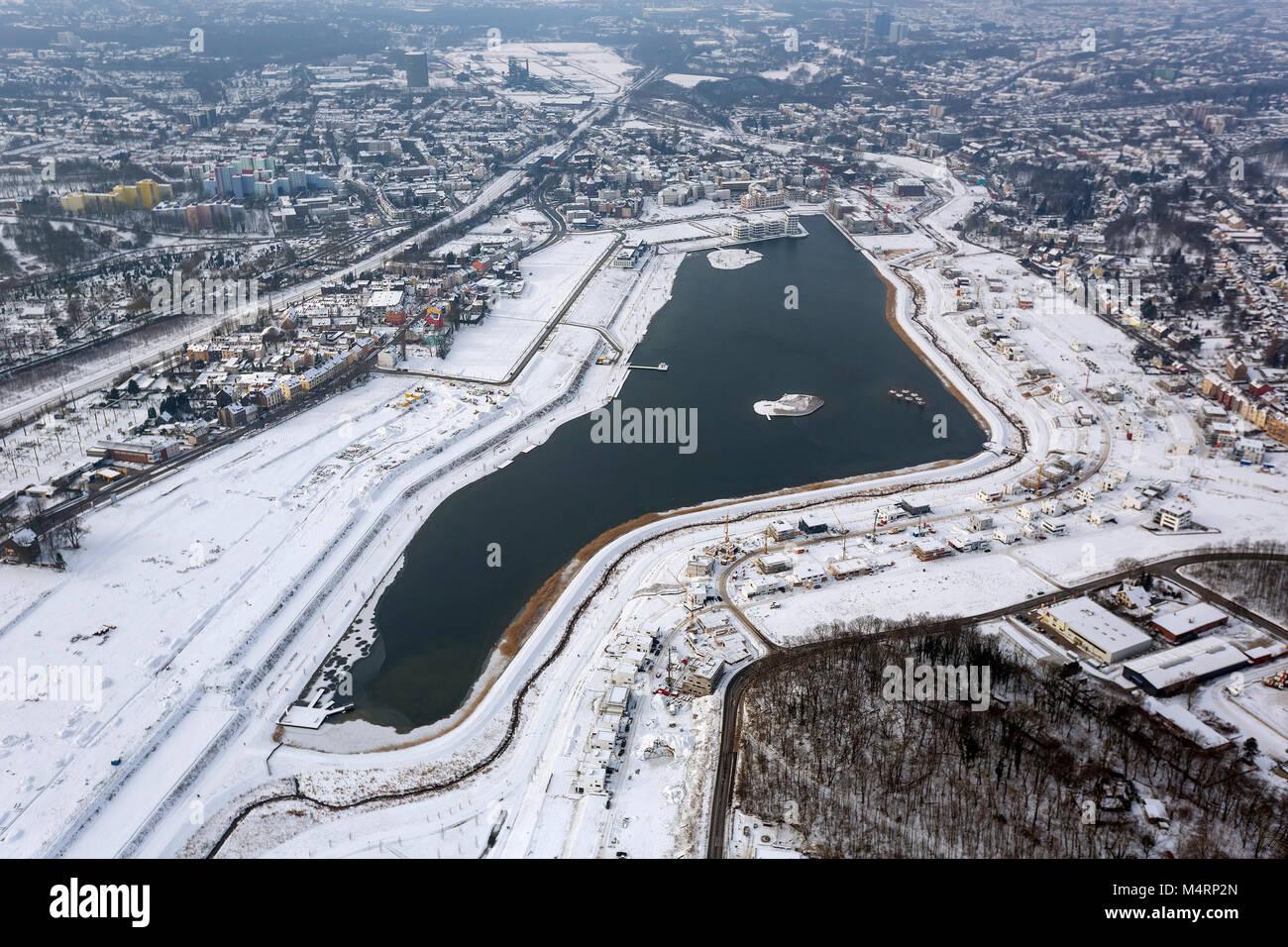 Aerial view, Emscher, residential development on the lake, lake island, Phoenixsee, former steelwork Dortmund Hörde, - Stock Image