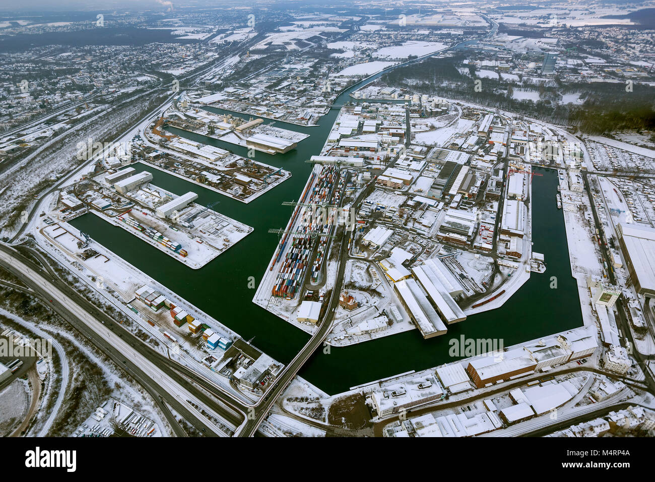 Aerial view, container port Dortmund, inland port, Dortmund harbor with the Envio administration PCB scandal, Dortmund, - Stock Image