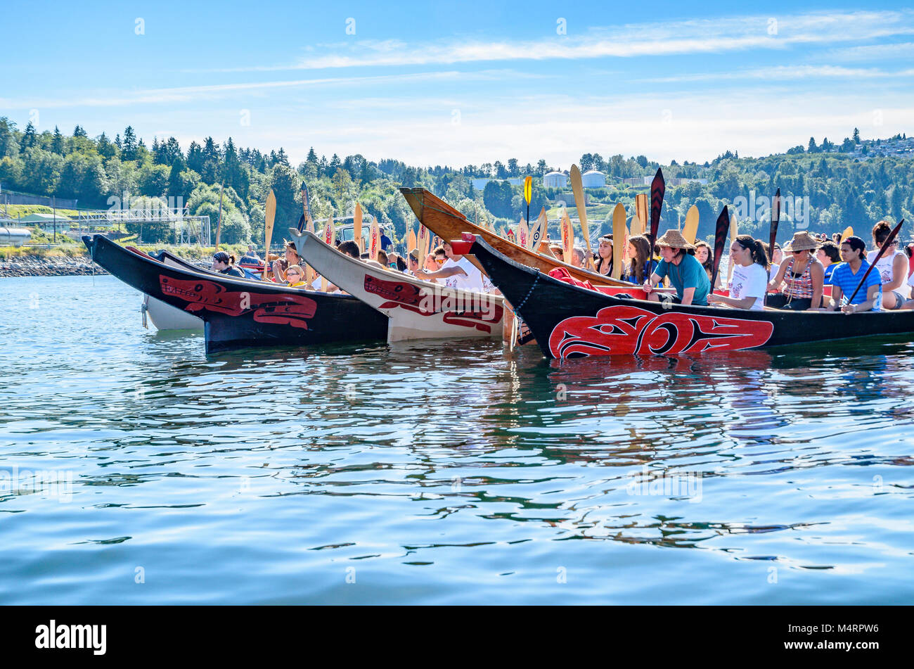 First Nations Canoes Protest Oil Tanker Traffic At Kinder Morgan Stock Photo 175085154