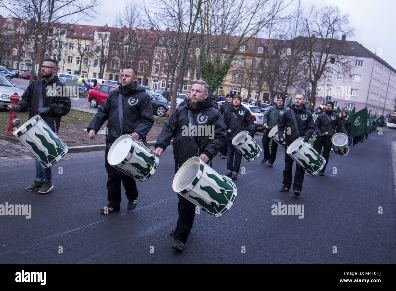 February 17, 2018 - Nordhausen, Thüringen, Germany - Torch march of the neo-Nazi party ''The - Stock Image