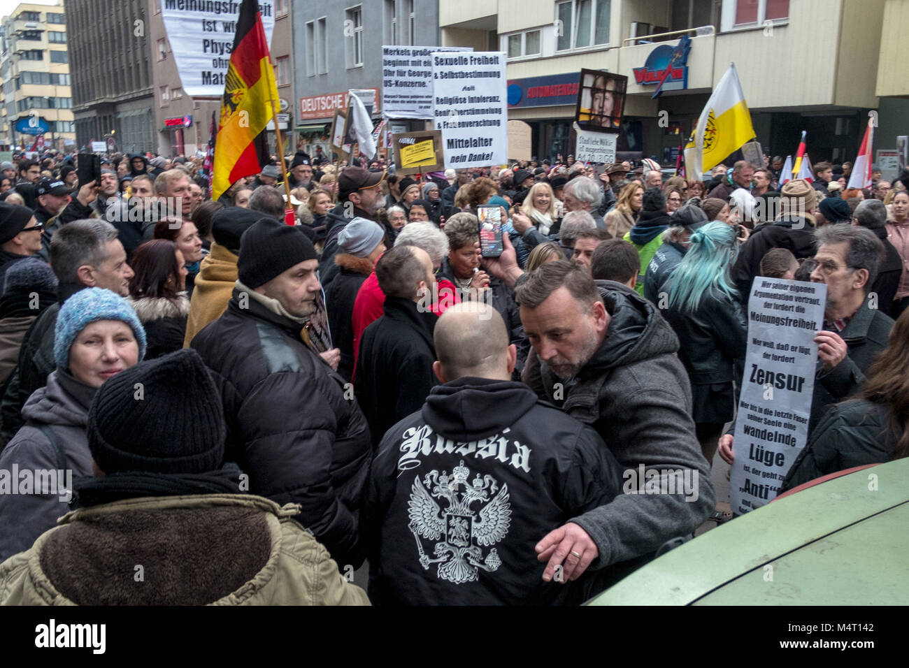 Berln, Germany. 17th Feb, 2018. Lutz Bachmann (centre R), founder of the anti-Islam movement 'Patriotische Europaeer - Stock Image