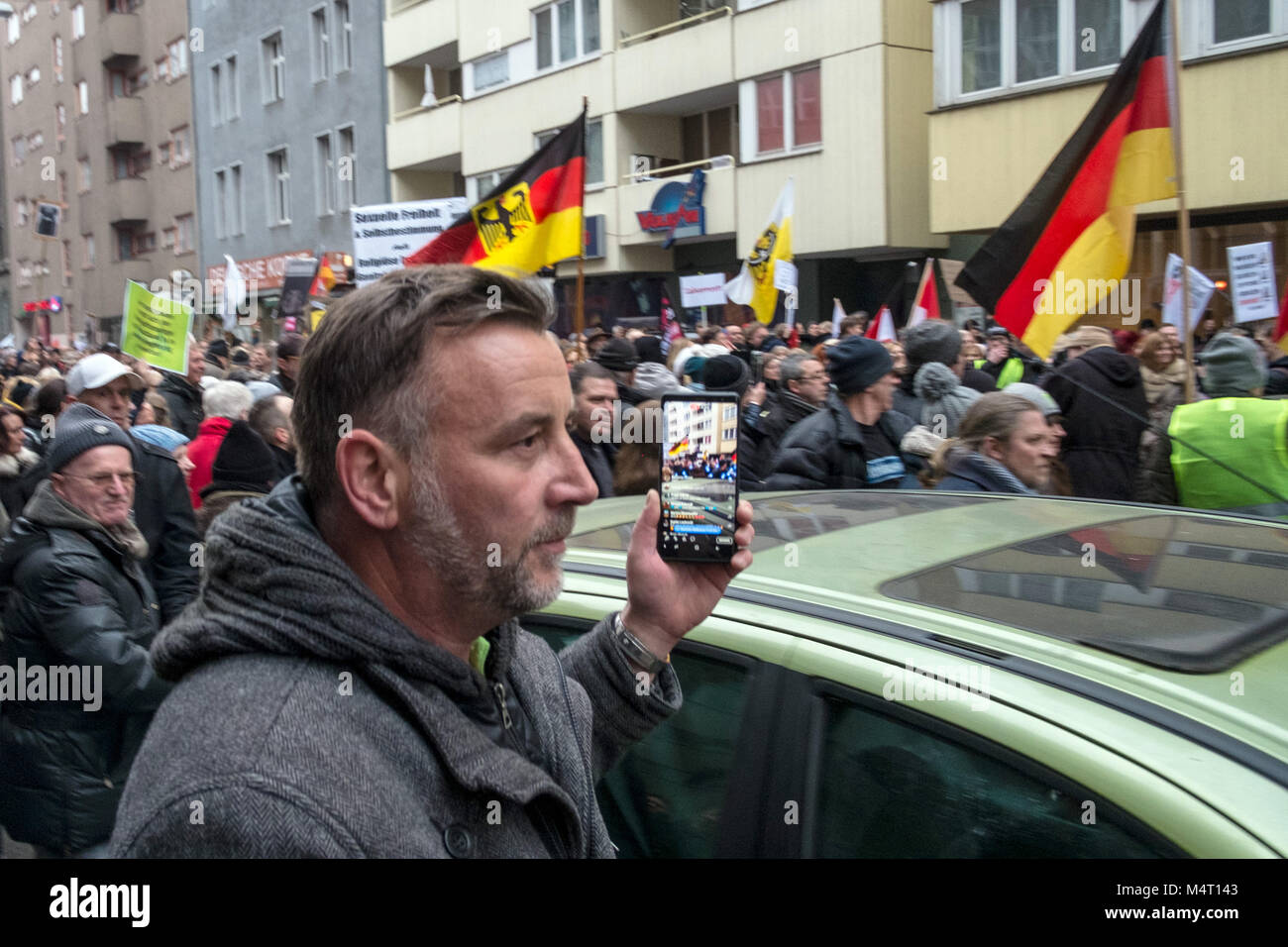 Berln, Germany. 17th Feb, 2018. Lutz Bachmann, founder of the anti-Islam movement 'Patriotische Europaeer gegen - Stock Image