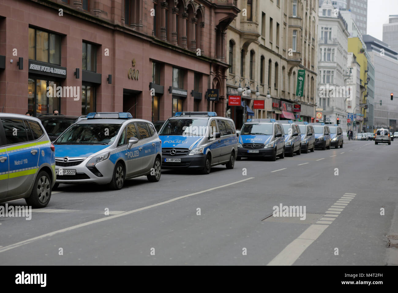 Frankfurt, Germany. 17th February 2018. The march was accompanied by a large police presence. Afghans and German Stock Photo