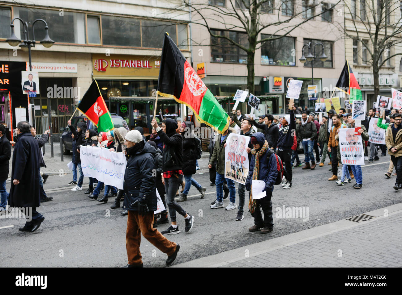 Frankfurt, Germany. 17th February 2018. Protesters march through Frankfurt. Afghans and German supporters marched Stock Photo