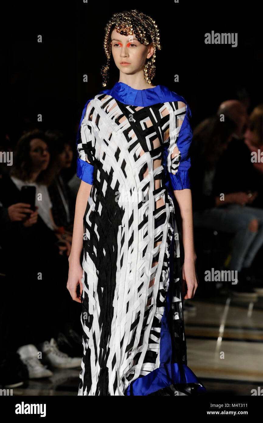 Model on the catwalk at the Susan Fang fashion show at Fashion Scout AW18 at Freemasons Hall, Covent Garden, London, - Stock Image