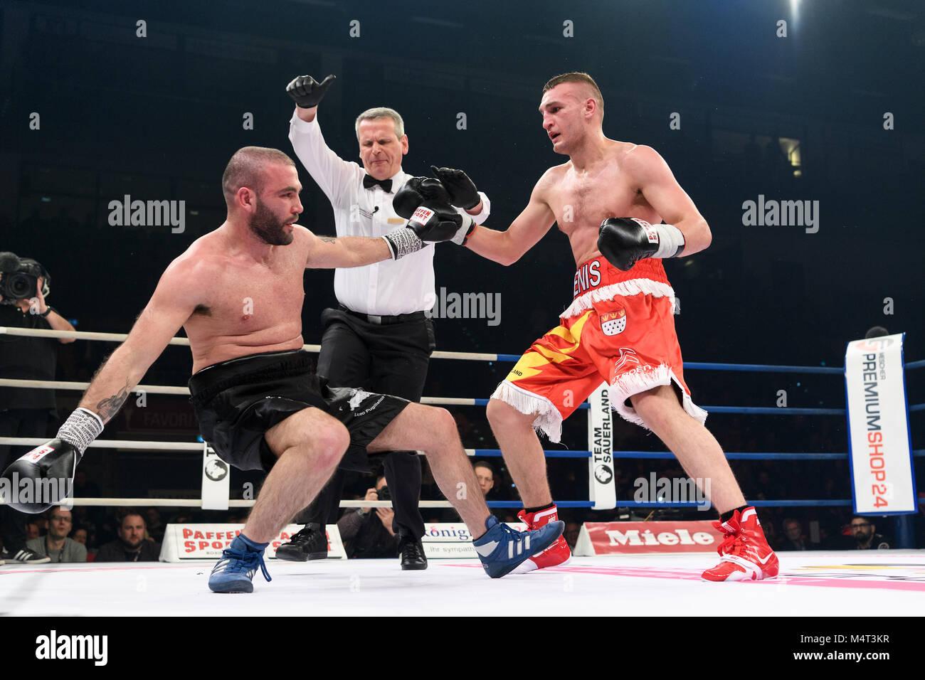 Ludwigsburg, Deutschland. 17th Feb, 2018. Radovan schlaegt Scaccia K.O. GES/ Boxen/ Super Middleweight: Denis Radovan - Stock Image