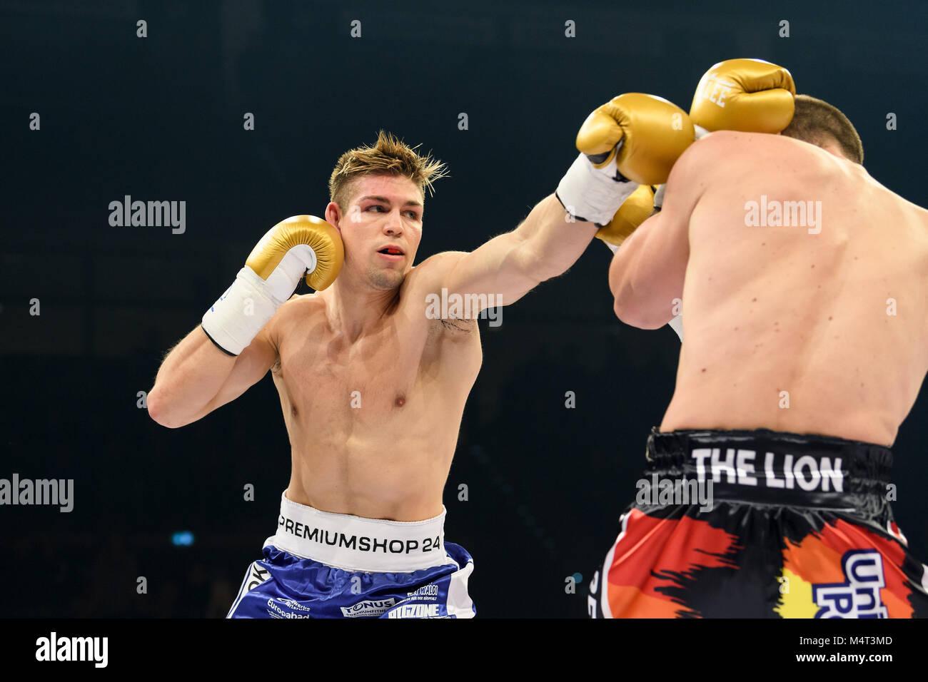 Ludwigsburg, Deutschland. 17th Feb, 2018. Vincent Feigenbutz (GER) vs Ryno Liebenberg (SAF). GES/ Boxen/ IBF Inter - Stock Image