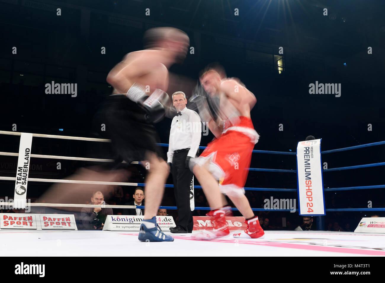 Ludwigsburg, Deutschland. 17th Feb, 2018. Feature, Wischer. GES/ Boxen/ Super Middleweight: Denis Radovan vs Mattia - Stock Image