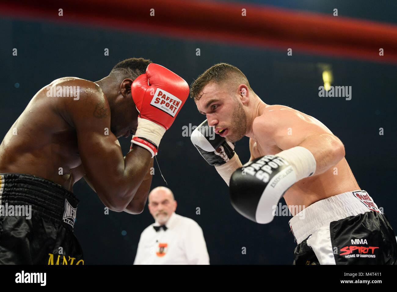 Ludwigsburg, Deutschland. 17th Feb, 2018. Leon Bunn (GER) vs. Maurice Possiti (FRA). GES/ Boxen/ Light Heavyweight - Stock Image