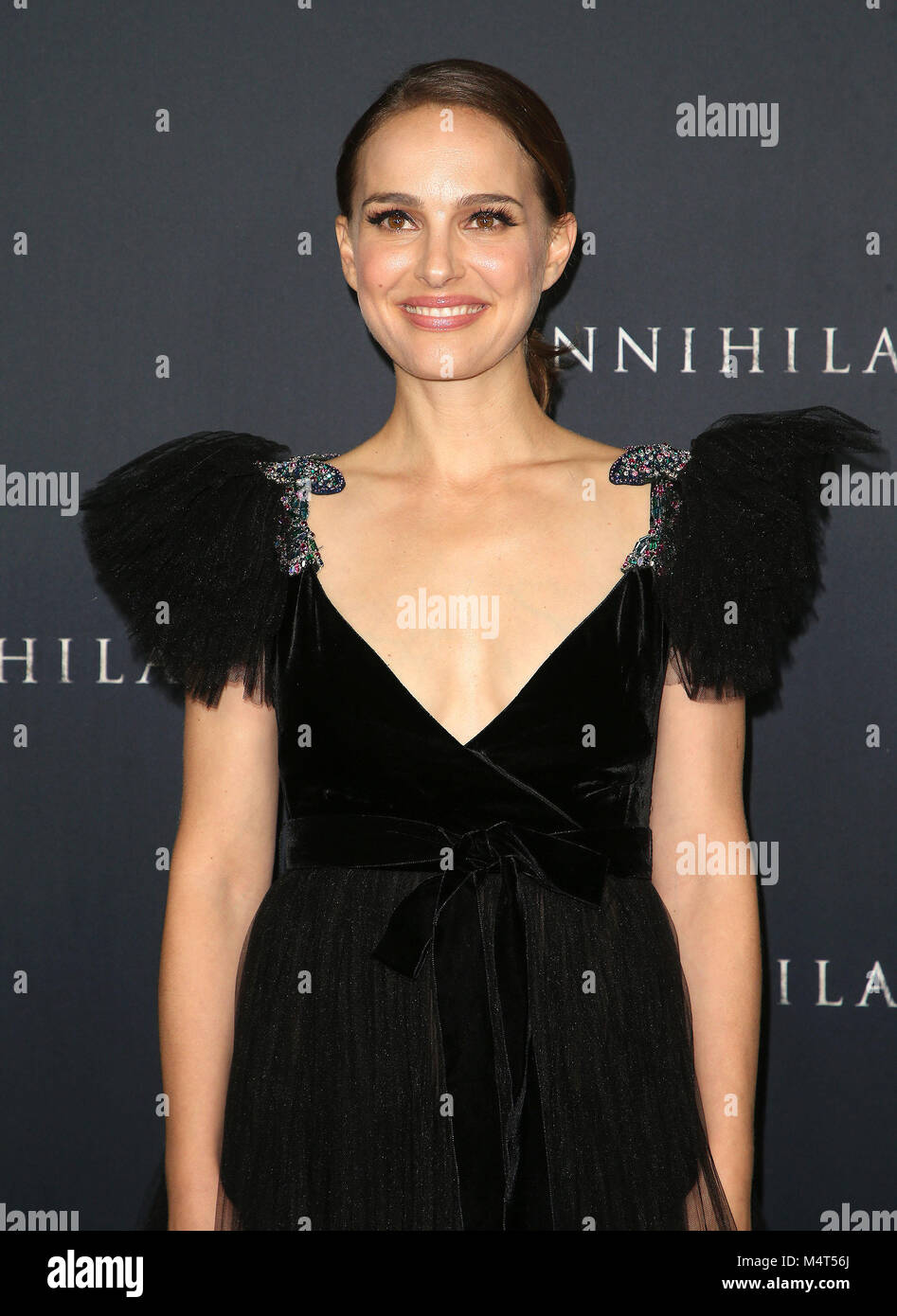 Westwood, California, USA. 13th Feb, 2018. 13 February 2018 - Westwood, California - Natalie Portman. ''Annihilation'' Stock Photo
