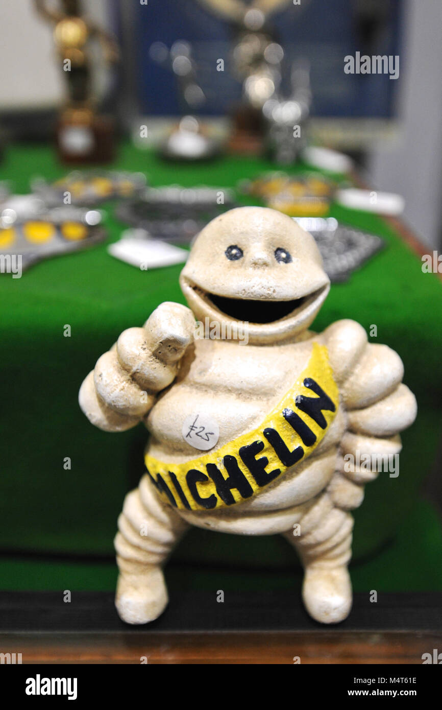 An original vintage Michelin Man figurine on display at the London Classic Car Show which is taking place at ExCel - Stock Image