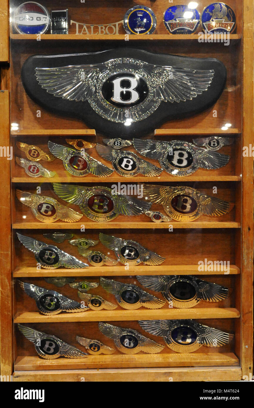 Vintage Bentley badges on display at the London Classic Car Show which is taking place at ExCel London, United Kingdom. - Stock Image