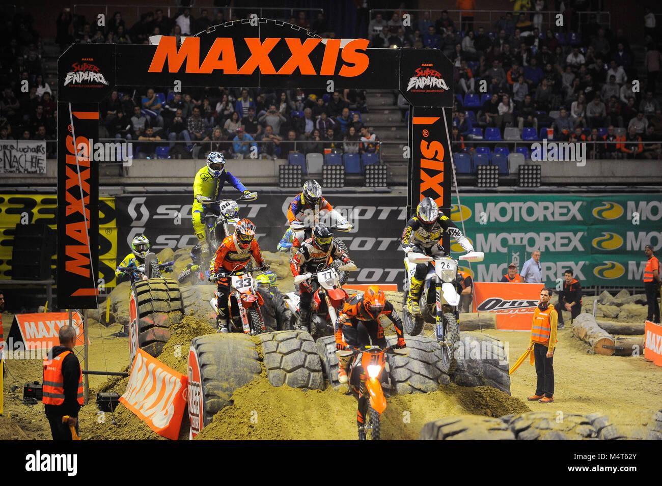 Malaga, Spain. 17th Feb, 2018. Riders competing during the GP Spanish Maxxis Fim Super Enduro World Championship - Stock Image