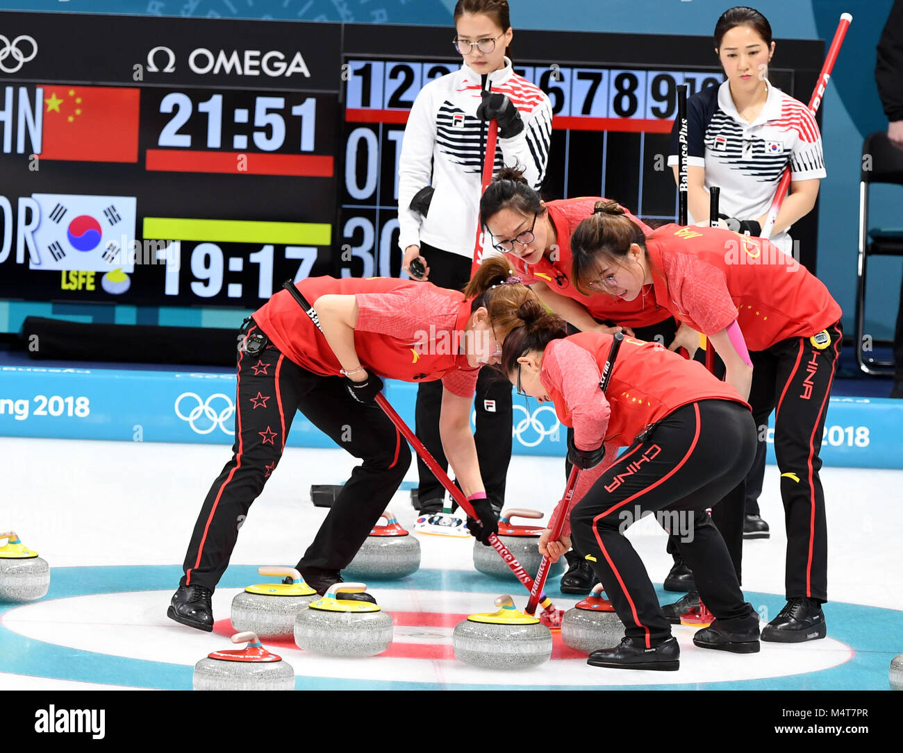 Pyeongchang, South Korea. 18th Feb, 2018. Chinese athletes compete during women round robin event of curling against - Stock Image