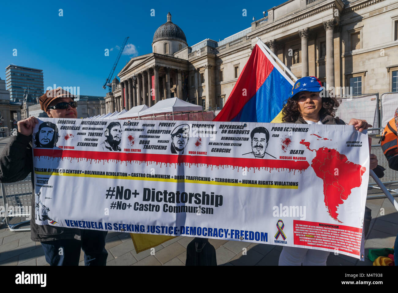 February 17, 2018 - London, UK. 17th February 2018. Bolivians protesting in Trafalgar Square were joined by two Stock Photo