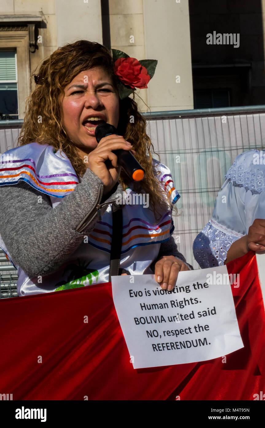 February 17, 2018 - London, UK. 17th February 2018. Bolivians protest in Trafalgar Square against President Evo Stock Photo