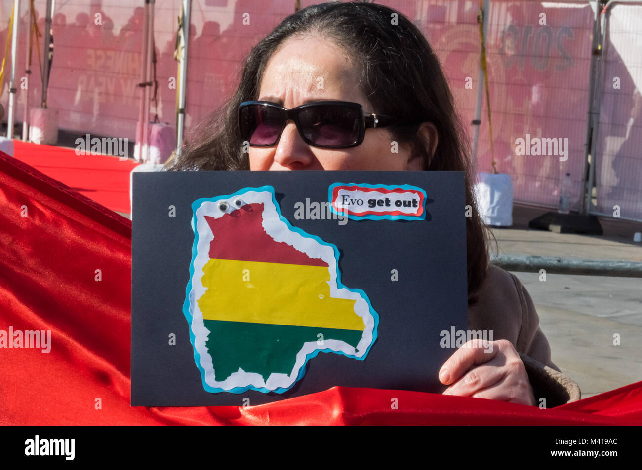 February 17, 2018 - London, UK. 17th February 2018. Bolivians protest in Trafalgar Square against President Evo Stock Photo