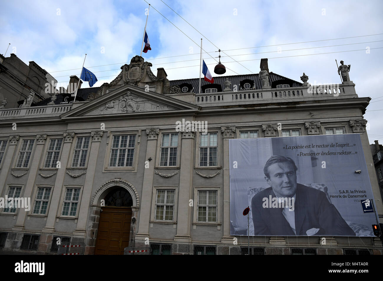 Copenhagen /Denmark / 18 February.2018  Frnech embassy in Copenhagen celebrates prince Hernik (henri)death with Stock Photo