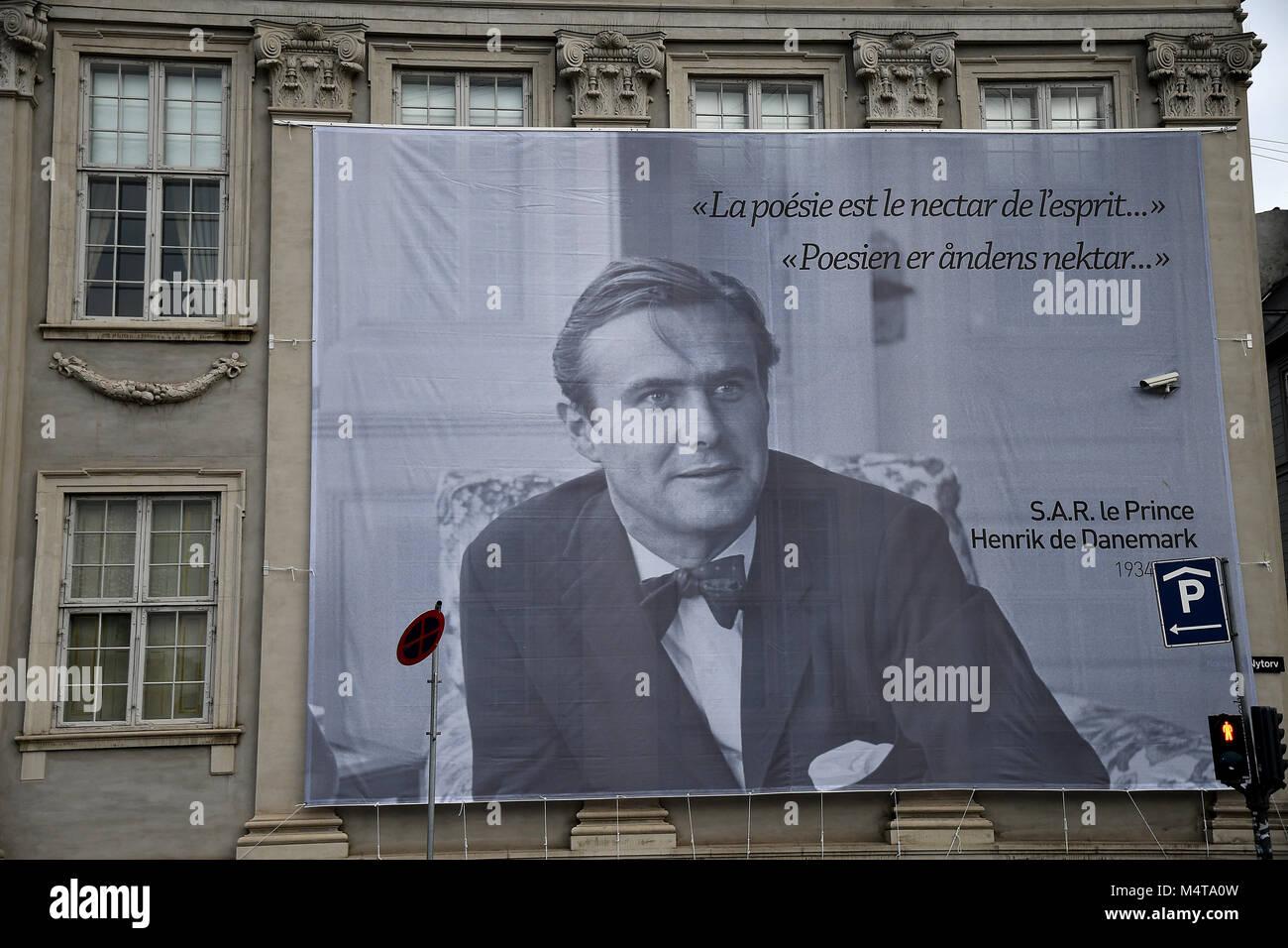 Copenhagen /Denmark / 18 February.2018  Frnech embassy in Copenhagen celebrates prince Hernik (henri)death with Stock Photo