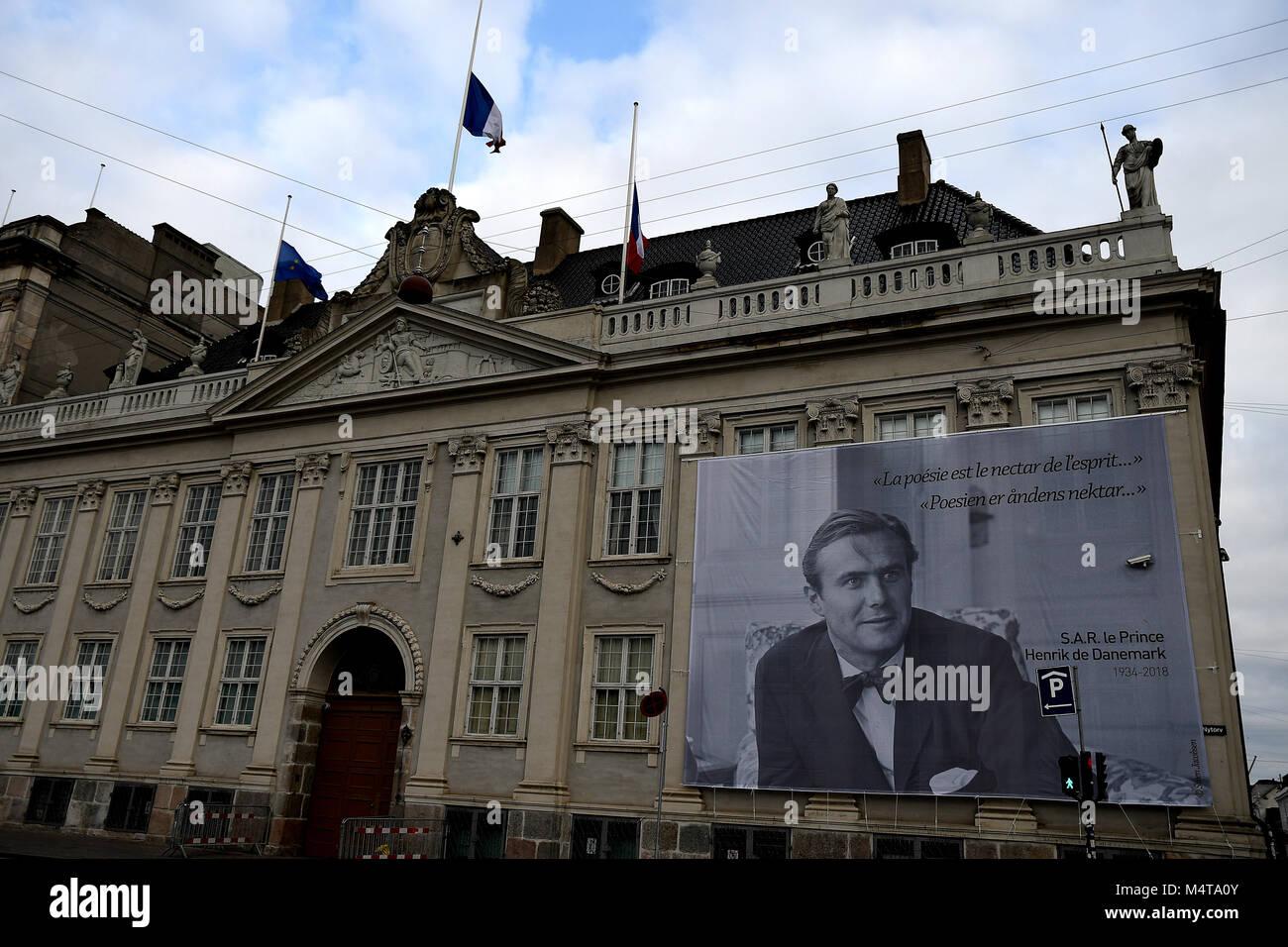 Copenhagen /Denmark / 18 February.2018_ Frnech embassy in Copenhagen celebrates prince Hernik (henri)death with - Stock Image