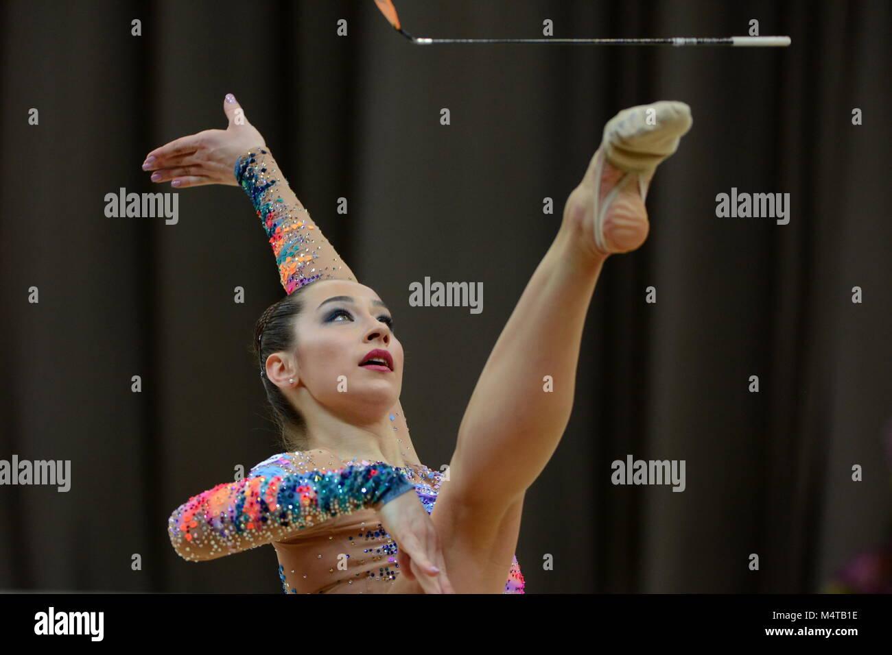 Moscow, Russia. 17th Feb, 2018. MOSCOW, RUSSIA - FEBRUARY 17, 2018: Rhythmic gymnast Katsiaryna Halkina of Belarus - Stock Image