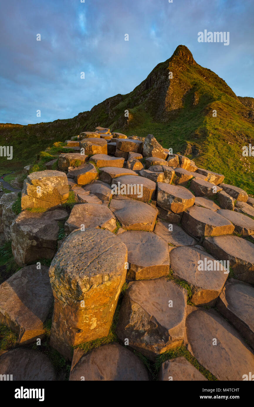 The hexagonal basalt columns of the Giant's Causeway, Country Antrim, Northern Ireland. - Stock Image