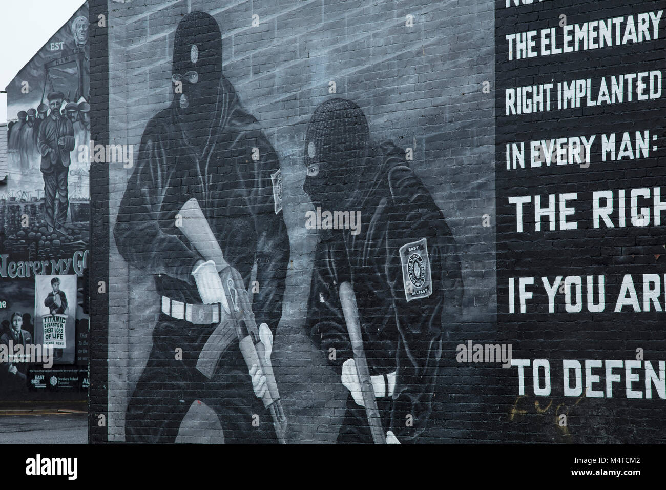 Loyalist murals commemorating The Troubles, Newtownards Road, Belfast, Country Antrim, Northern Ireland. - Stock Image