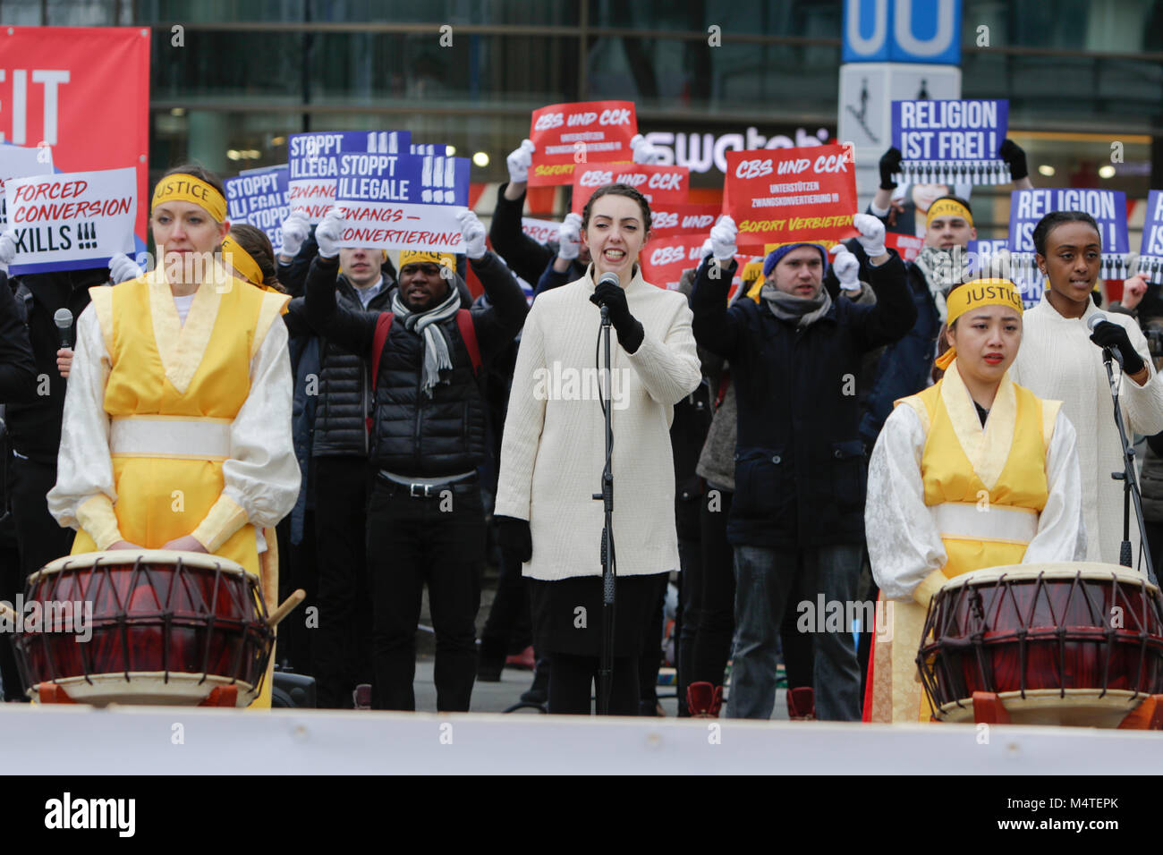Frankfurt, Germany. 17th Feb, 2018. Sympathisers of the Human Rights Association for Forced Conversion sing about Stock Photo