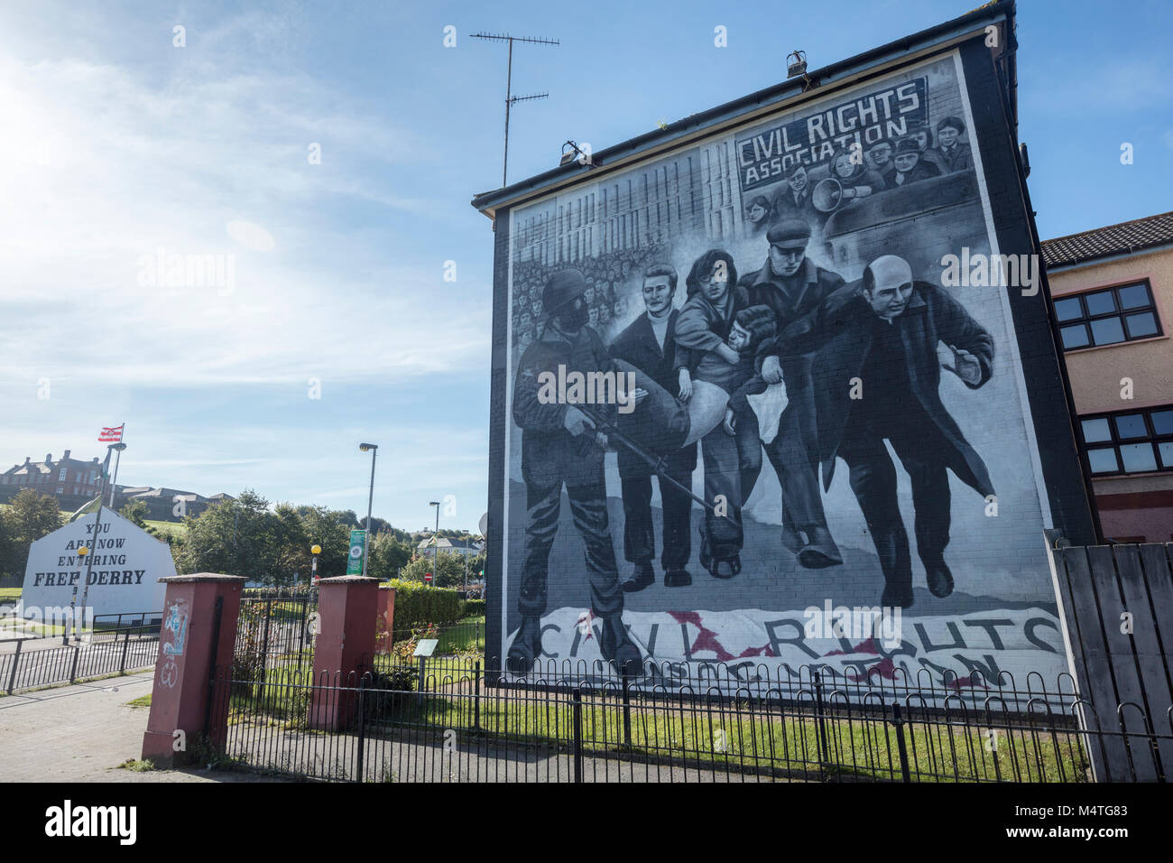 Republican mural commemorating Bloody Sunday, Bogside, Derry city, County Derry, Northern Ireland. - Stock Image
