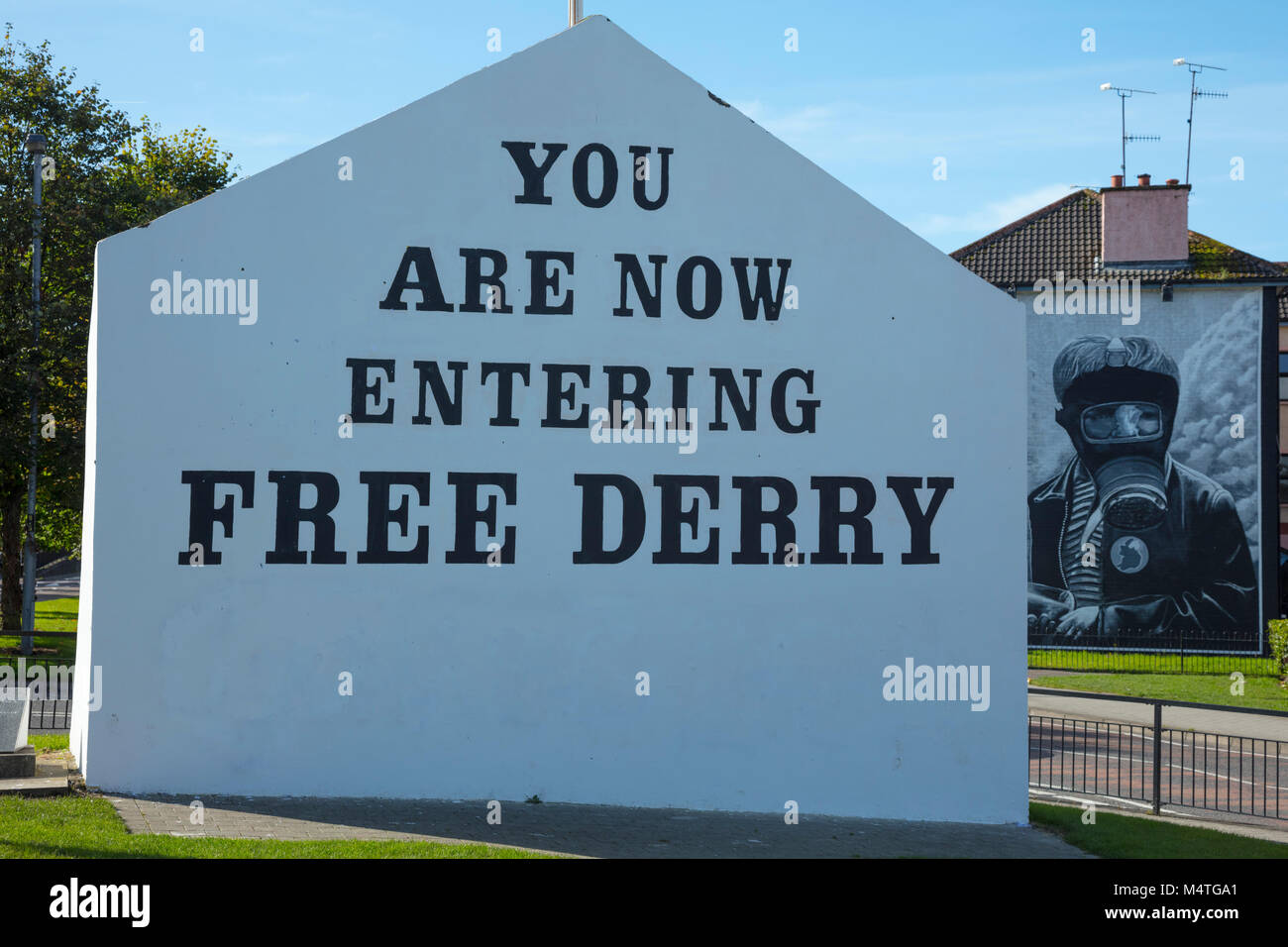 Free Derry Corner in the Bogside, Derry city, County Derry, Northern Ireland. - Stock Image