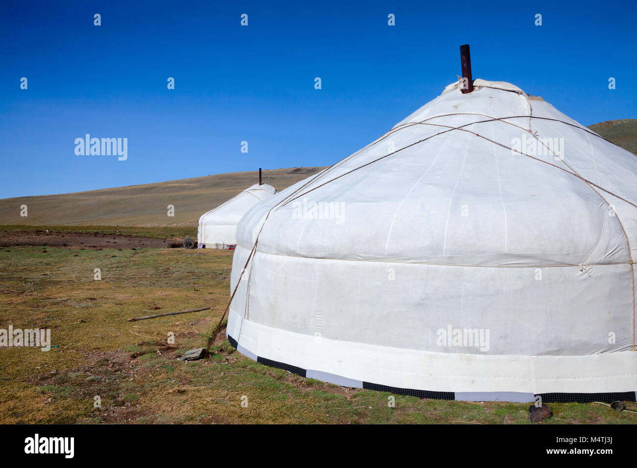 Traditional Mongolian portable round tent ger covered with white outer cover in Altai Mountains of Western Mongolia - Stock Image