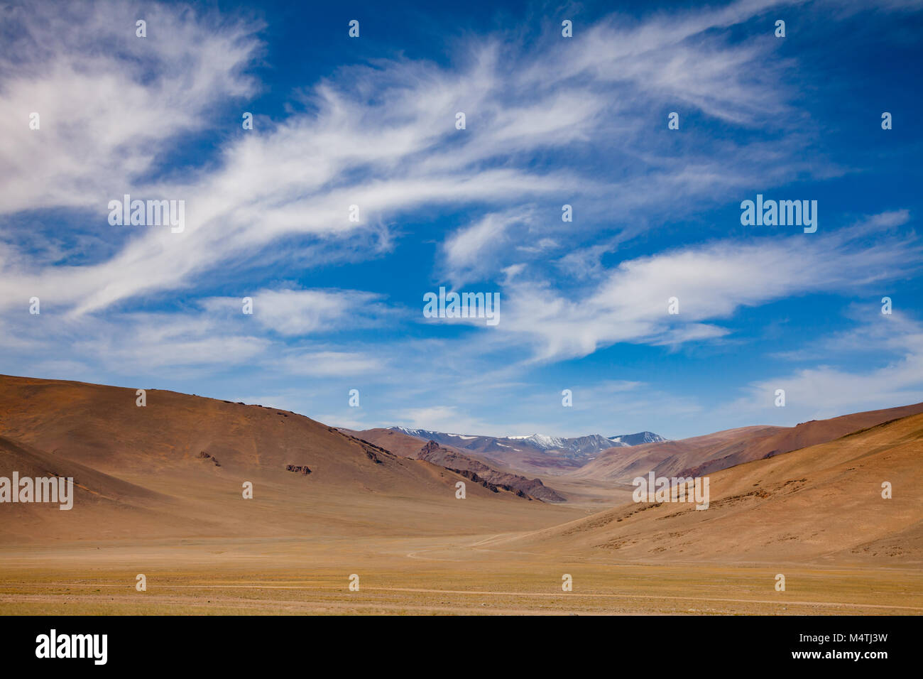 Uninhabited mountain valley in Western Mongolia Altay Mountains at summer Stock Photo