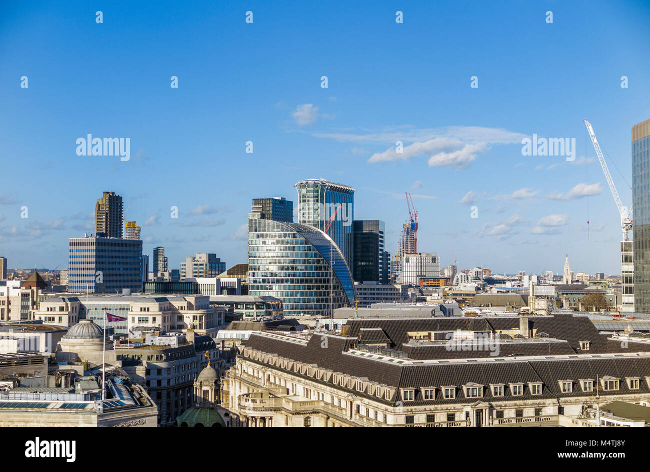 Rooftop view of Moor House, London Wall, London EC2, CityPoint in Ropemaker Place behind - Stock Image