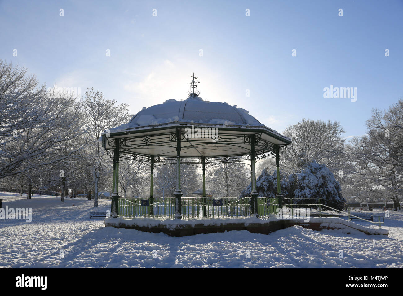 The bandstand in Mary Stevens park, Stourbridge on a sunny winters day. - Stock Image