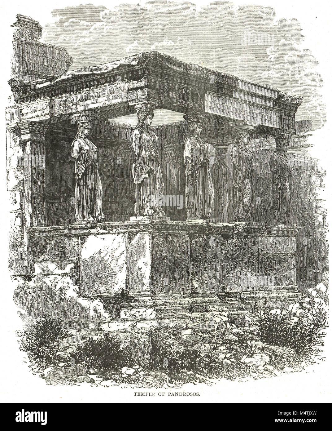 Porch of the Caryatids, Erechtheion, Sanctuary of Pandrosos, Acropolis, Athens, Greece - Stock Image