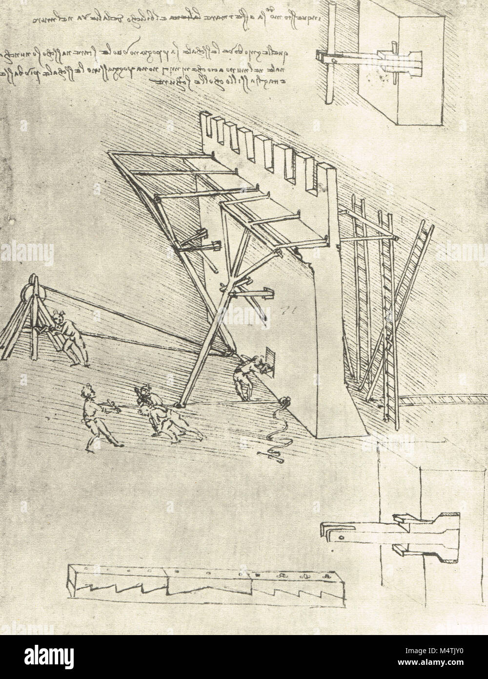 Device for repelling scaling ladders, drawn by Leonardo Da Vinci, circa 1475-80 - Stock Image