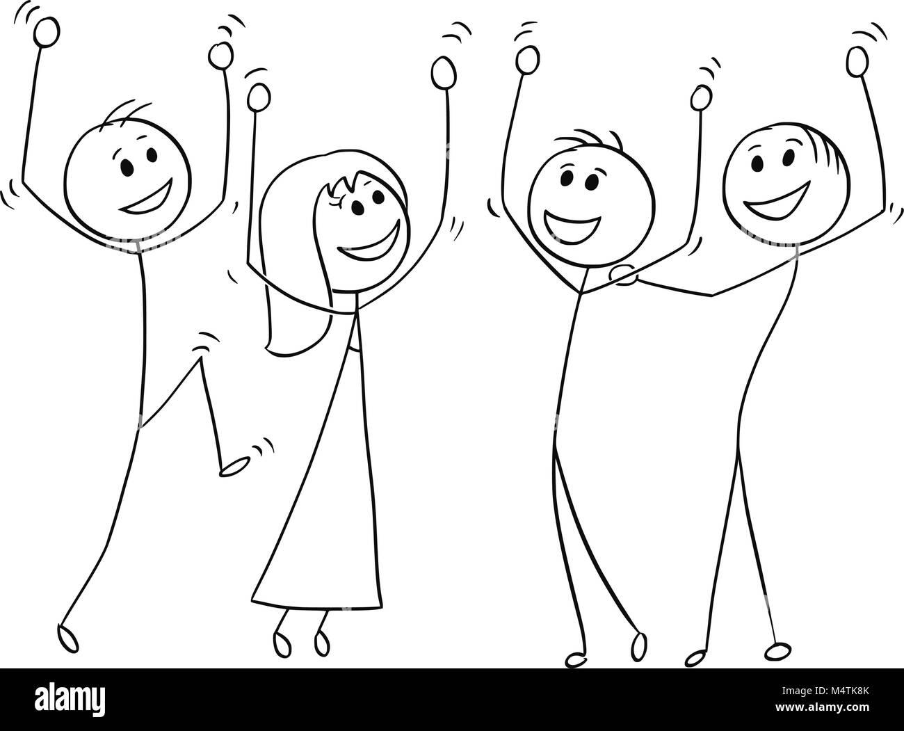 cartoon of group of people celebrating success stock vector image art alamy https www alamy com stock photo cartoon of group of people celebrating success 175104291 html