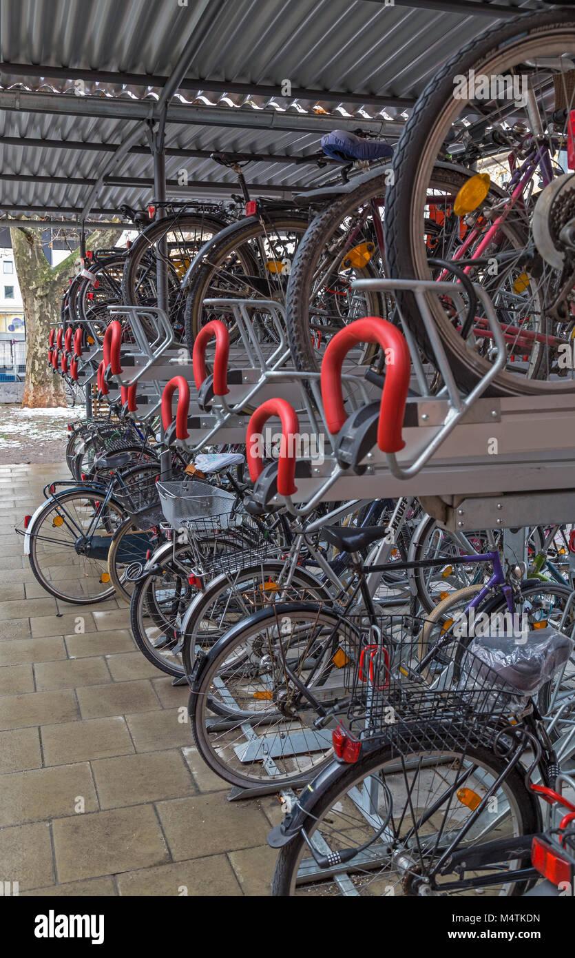 Bicycle garage in Munich - Stock Image