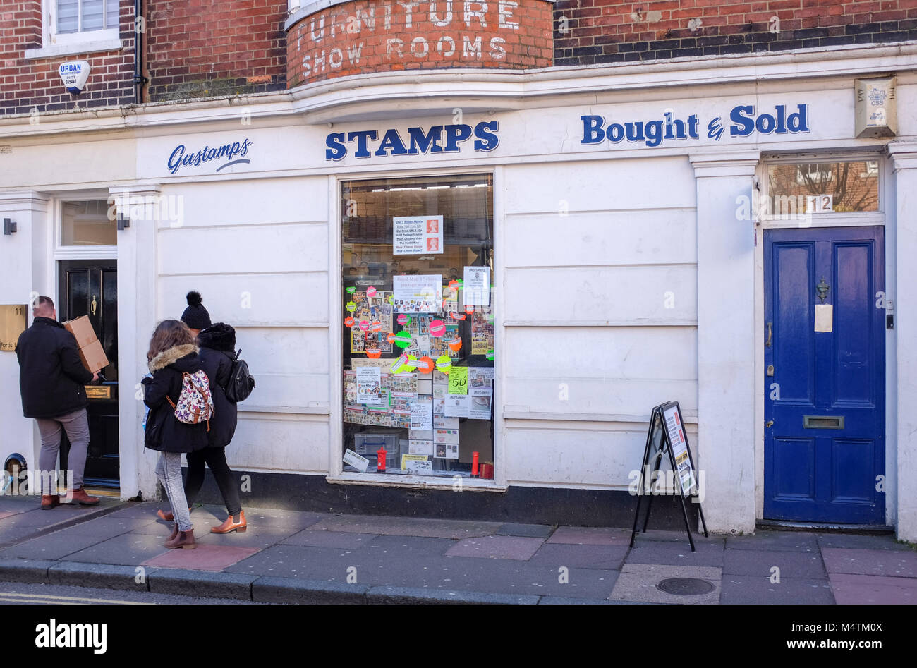 Brighton UK February 2018 - Famous Gustamps Stamp Shop in Ship Street - Stock Image