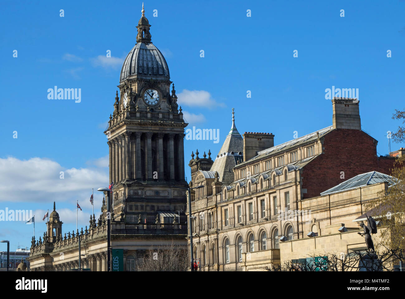 Leeds Town Hall on a sunny spring morning,West Yorkshire,England,UK. - Stock Image