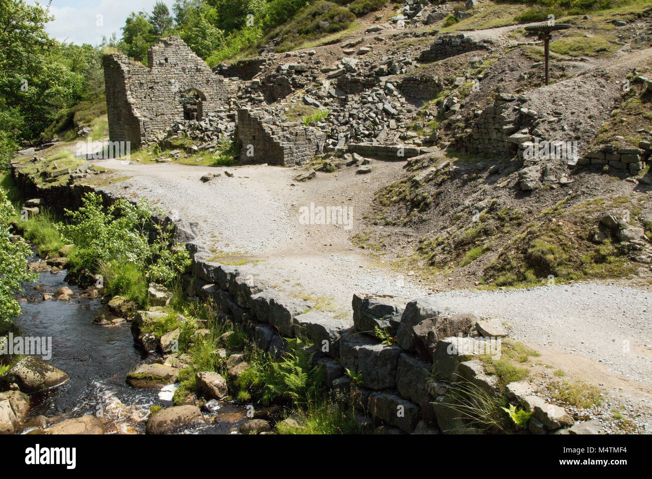 Prosperous old lead mine and smelt mill abandoned in 1889,pictured at Ashfoldside Valley,Pateley Bridge,Nidderdale,North - Stock Image