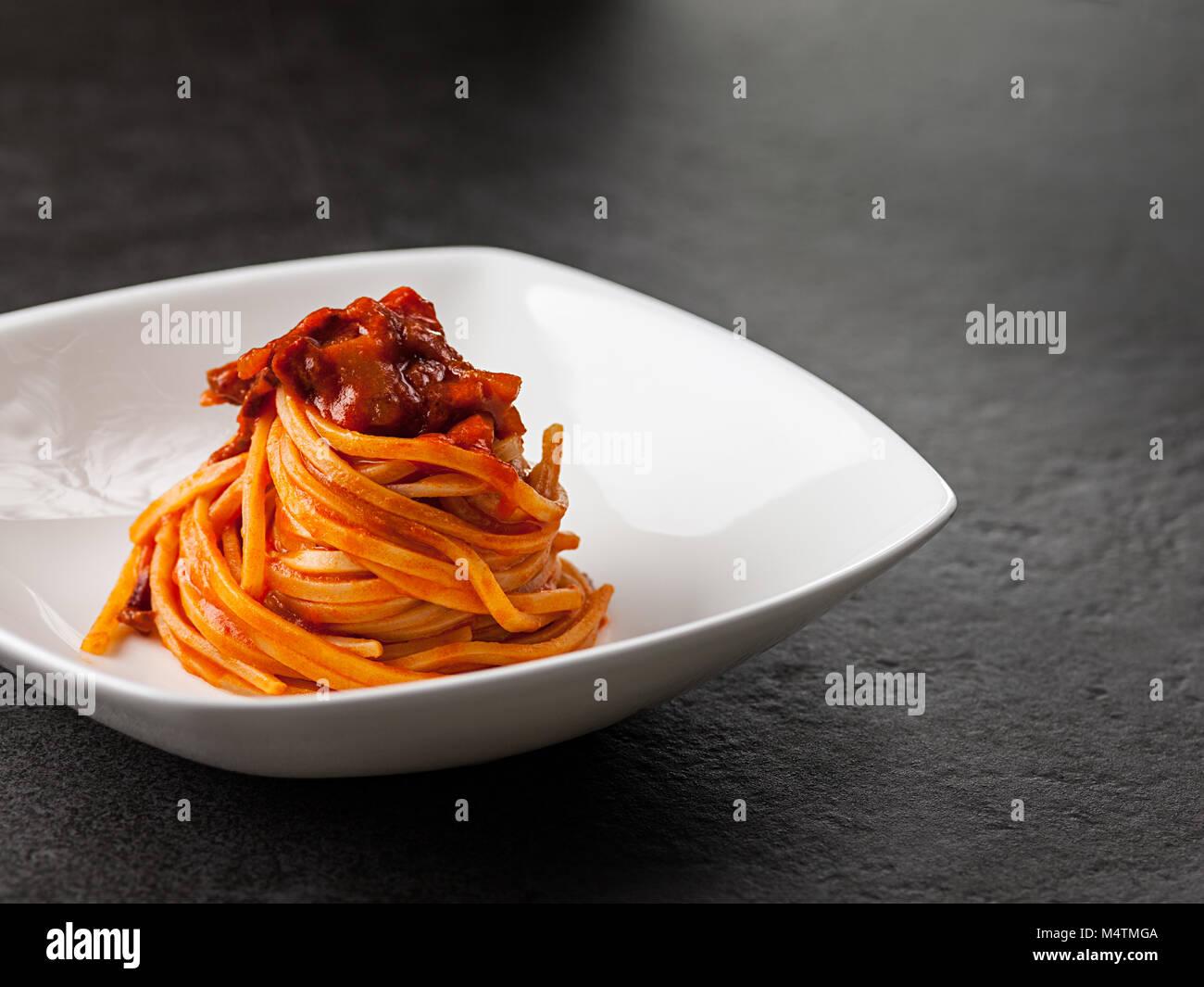 Traditional Amatriciana Pasta - Stock Image