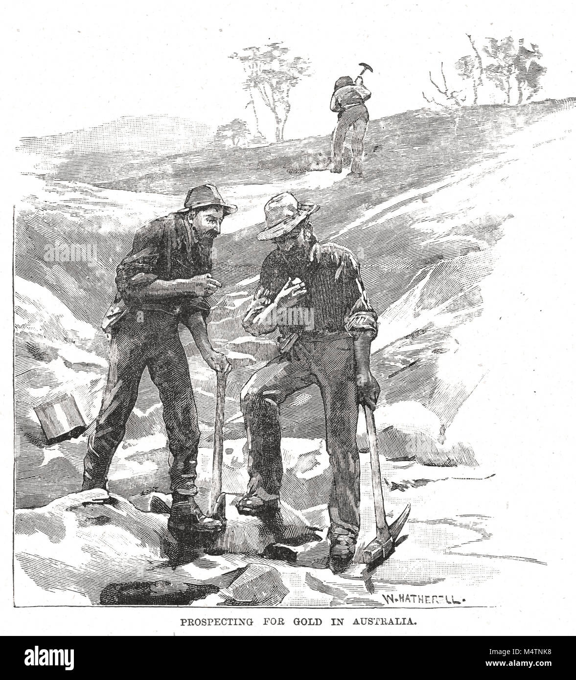 Prospecting for Gold, Victorian gold rush, Victoria, Australia, 1851-1860's - Stock Image