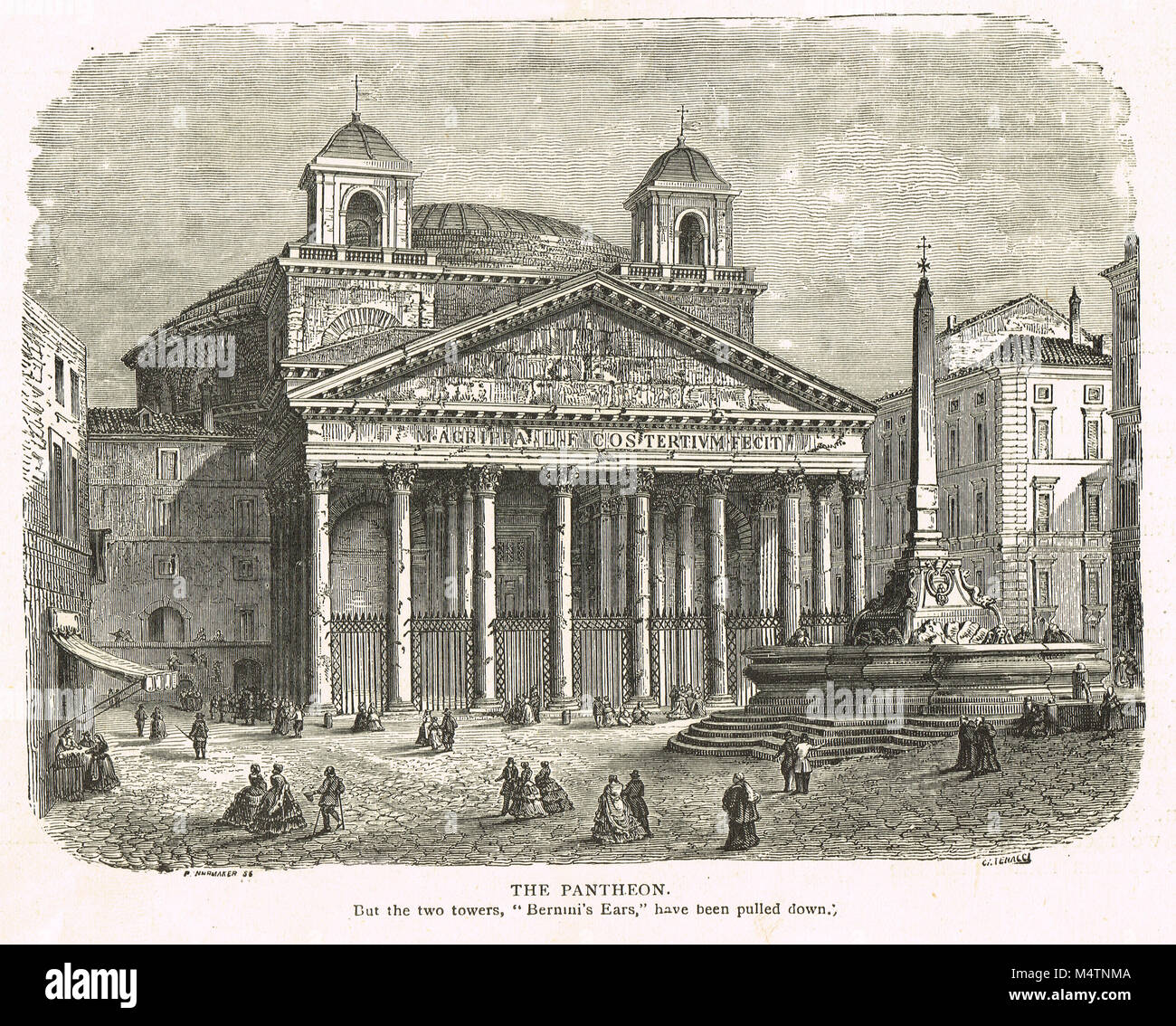 The Pantheon, Rome showing the twin bell towers added in the 17th century and removed in the late 19th. - Stock Image