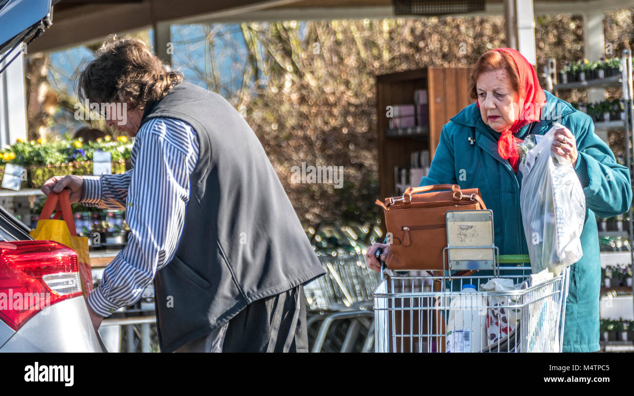 Male Waitrose supermarket employee, helping an old / elderly woman with her shopping into the back of her car, at - Stock Image