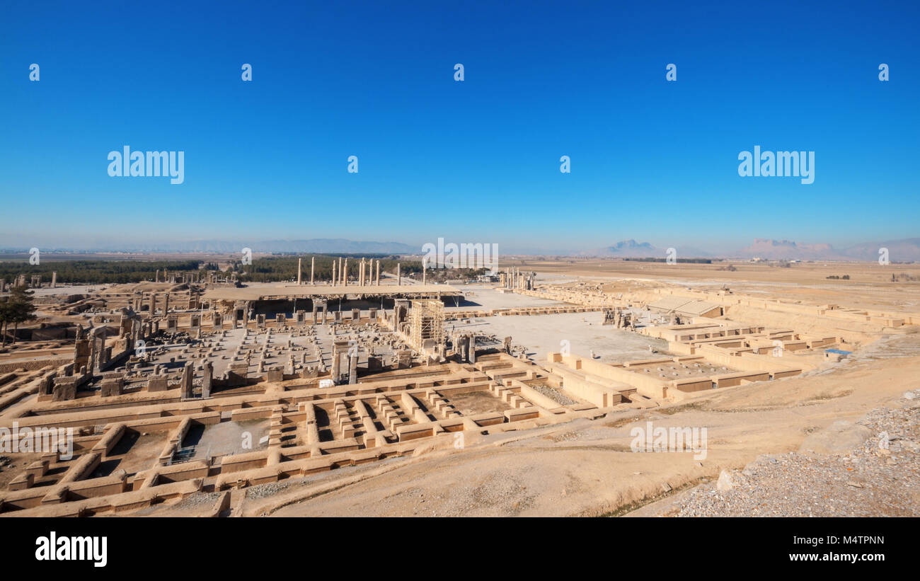 "Persepolis, ""city of Persians"", Built by Xerxes, ceremonial capital of Achaemenid Empire. Persepolis is situated Stock Photo"
