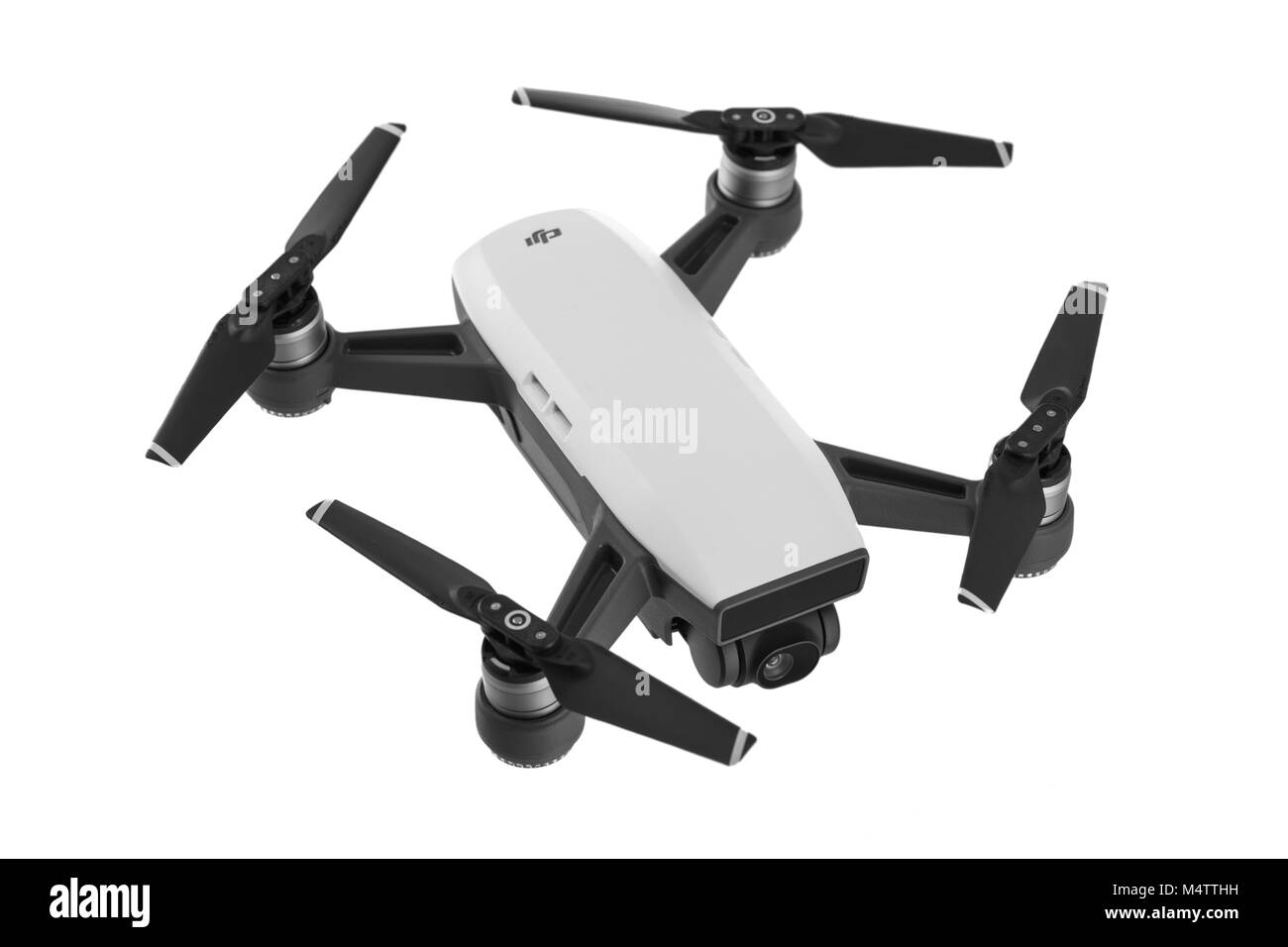 Varna, Bulgaria - February 14 ,2018: Flying drone quadcopter Dji Spark is mini drone that features all of DJI's - Stock Image