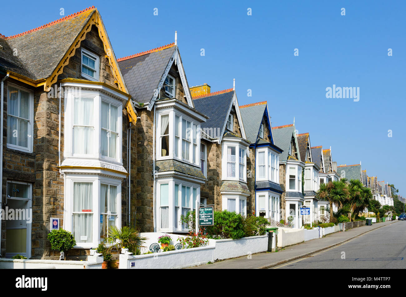 hotels, bed and breakfast accomodation in a residential street, penzance, cornwall, england, britain, uk. - Stock Image