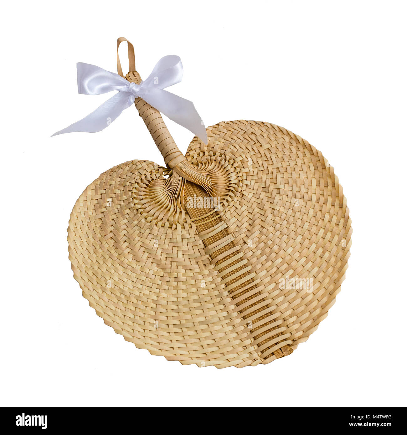 Straw hand fan with white ribbon bow. White background, isolated object. Square picture. - Stock Image